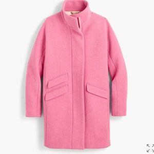 NWT J. Crew Stadium cloth pink cocoon coat jacket